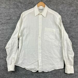 Yves Saint Laurent Mens Linen Button Up Shirt Size 41 White Long Sleeve 50.04