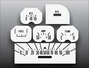 1961-1968 Dodge D-Series Round Dash Instrument Cluster White Face Gauges