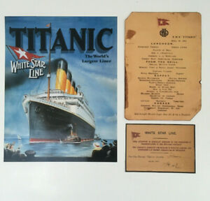 Titanic Lunch Menu and Boarding Pass and Titanic SMALL Poster Print