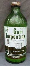 TEXAS GUM TURPENTINE BOTTLE-Green- El Paso-Applied Color Label -1930s