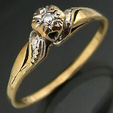 Old Well loved darling Budget DIAMOND 9k Solid Yellow GOLD Rigjht hand RING Sz N