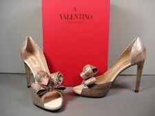 valentino Snakeskin Big Bow Platform PEEP Toe PUMPS Sandals Shoes 38.5/8.5