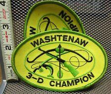 WASHTENAW 3D CHAMPION embroidery patch Michigan archery bow-hunting