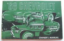 1968 CHEVROLET IMPALA CAPRICE BELAIR BISCAYNE PASSENGER CAR ORIG OWNERS MANUAL
