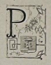 1871:Pesaro,MINIATURA STEMMA ARALDICO CITTA da Cento Citta, Ariodante Manfredi.