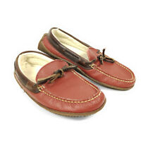 LL Bean Slippers Driving Moccasin Loafers Red Women's 6 M Leather Lined Bow