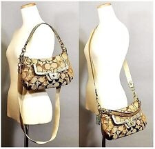 NWT COACH Poppy Signature Groovy Khaki/Gold Shoulder Crossbody Hobo Purse 18756