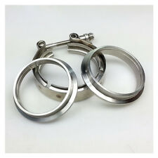 """2.5"""" Inch Turbo Exhaust Downpipe Stainless Steel V-Band Clamp with 2 Flange"""
