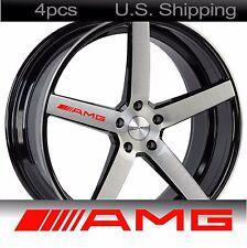 4 AMG Stickers Decals Door Handle Wheels Wing Mirror Mercedes Benz Rims RED