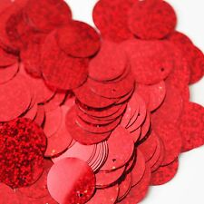 "Sequins Red Hologram Multi Metallic 24mm (1"") Flat Round Top Hole Paillettes"