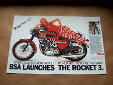 BSA Rocket 3 750 Advertisement Poster 1969 a75