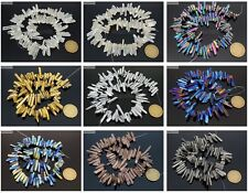 Metallic Titanium Coated Natural Quartz Crystal Stick Spike Pointed Beads 16''