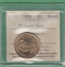 2008 Canadian 1 Dollar Olympic Loonie - ICCS Graded MS-65
