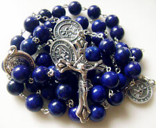XL ST. CHRISTOPHER ROSARY CROSS NECKLACE BOX & 10MM LAPIS lAZULI NATURAL BEADS