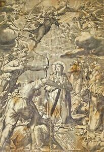 THE MARTYRDOM OF SAINT ÚRSULA. SAVINO FANTAGUZZI. ENGRAVING ON PAPER. ITALY.1672