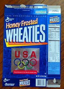 1996 Team USA Wheaties Honey Frosted Olympic Rings Opened 14.75 oz Cereal Box