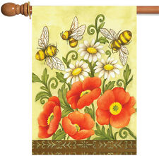 Toland Bees and Wildflowers 28 x 40 Cute Yellow Red Bee Flower Spring House Flag