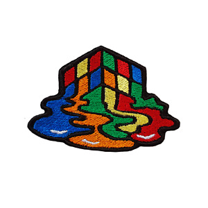 Melted Rubiks Cube Patch Embroidered Iron On Patches Jacket Badge Jeans Applique