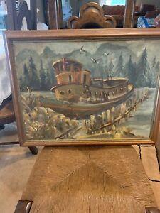 Old Tug Boat Original Oil Painting Vintage Signed L. Frentz
