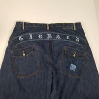 Le Jean de Marithe Francois Girbaud Mens Jeans Sz 42 Embroidered Dark Wash