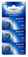3 x CR1130 3V Lithium Knopfzelle 48 mAh ( 1 Blistercard a 3 Batterien) Eunicell