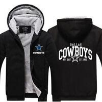 NEW Men's Dallas Cowboys Hoodie Zip up Jacket Coat Winter Warm Black and Gray *1