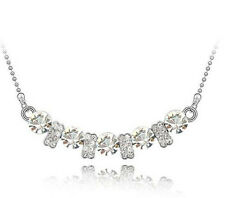 Fashion Womens White Crystal Rhinestone Silver Chain Pendant Necklace NEW ~!