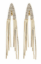 CLIP ON EARRINGS - gold earring with clear crystals and linked strands - Carla G