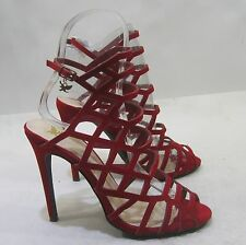 """RED 4.5""""Stiletto high heel open toe ankle strap sexy shoes  SIZE  8"""