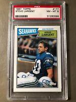 1987 Topps Football Card #177 Steve Largent PSA Graded NM-MT 8 Seattle HOF
