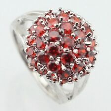 Beautiful Garnet & White Topaz 925 Sterling Silver Dipped Ring Sizes L or P