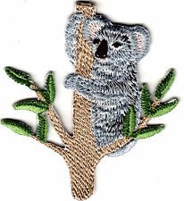 KOALA ON BRANCH -  IRON ON EMBROIDERED PATCH - ANIMALS - AUSTRALIA - ZOO