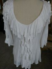 Boston Proper M White Ruffled Blouse V Neck 3/4 Sleeves 100% Rayon
