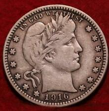 1916-D Denver Mint Silver Barber Quarter
