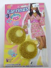 Go 60's Gold Glitter Hoop Ear Rings Jewelry Hippie Costume Cosplay Halloween