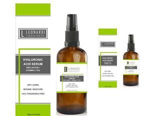 Pure 100% Hyaluronic Acid Serum + Vitamin C  100ml with Serum Pump