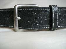 MENS GENUINE BLACK  LEATHER EAGLE EMBOSS BELT WITH WHITE STITCHING