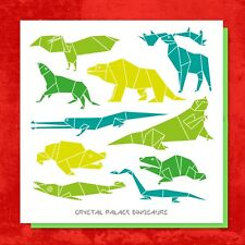 Contemporary origami style GREETINGS card featuring Crystal Palace Dinosaurs