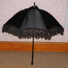 VINTAGE lutto Black Velvet & Lace Ombrellone con manico in legno intagliati a mano