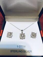 1 Ct Diamond Pendant & Earrings Set Sterling Silver , Free Shipping