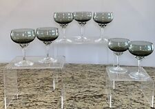 "(7) Sasaki Coronation Smoke Gray Champagne Glass Glasses Sherbets 5"""