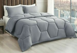 Queen Size Comforter Set - Grey Soft Honeycomb Comforter 88x88 w/2 Pillow Shams