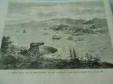 Gravure 1866 - La Pointe Levis sur le Saint Laurent en face de Quebec