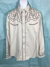 NWT Vintage Roper Western Embroidered Snap Buttons Rockability Long Sleeve Sz L