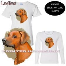 Rhodesian Ridgeback Dog Abstract Watercolor Portrait Graphic Art Ladies T Shirt
