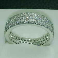 14k White Gold Fn 1.80 Ct Round Cut Diamond Full Eternity Band Engagement Ring