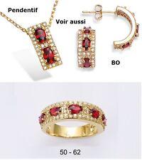Dolly-Bijoux Alliance T60 Sertie Rubis et Pavé Diamant Cz Plaqué Or 18K 5 Micron