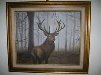 "framed original oil painting of an Elk in the forrest 20""x24"""