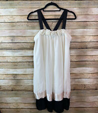 Forever 21 Smocked Dress Size Small Ivory Black With Rosettes Baby Doll Formal