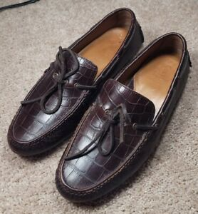 COLE HAAN-Brown Gator Grain Leather, Mens Casual Driving Moccasin Loafers-(9.M)